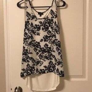 Black and white flower dress tank
